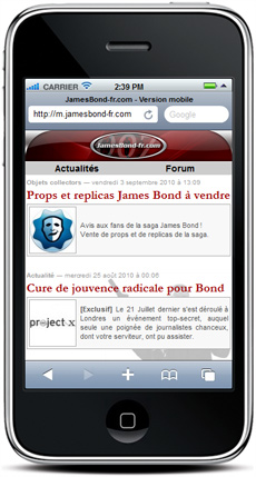 JamesBond-fr.com sur un iphone